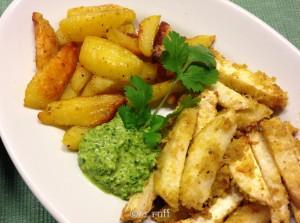 Sellerie-Kartoffel Pommes mit grüner Soße-3794